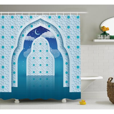 Askham Arabic Signs at Night Shower Curtain Size: 69 W x 75 L