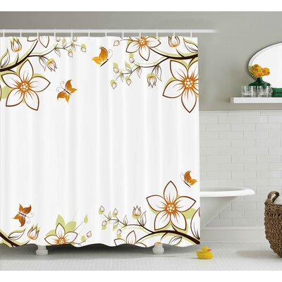 Walnut Leaves Branches Buds Shower Curtain Size: 69 W x 70 L