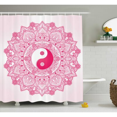 Ying Yang Decor Pink Mandala Shower Curtain Size: 69 W x 84 L