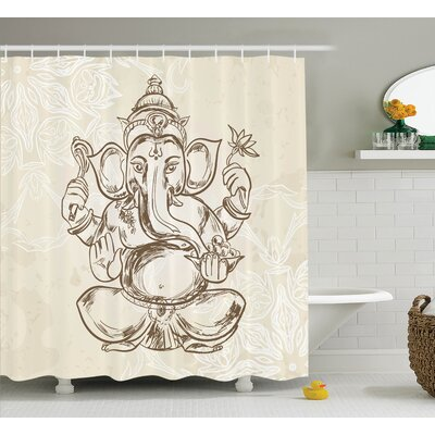 Beldin Cream Elephant God Art Shower Curtain Size: 69 W x 84 L