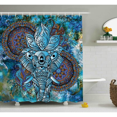 Alep Third Eye Symbol India Shower Curtain Size: 69 W x 75 L