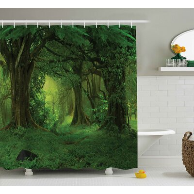 Nature Tropical Jungle Trees Shower Curtain Size: 69
