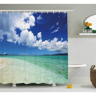 Ocean Island Sealife Wavy Sunny Shower Curtain Size: 69 W x 84 L