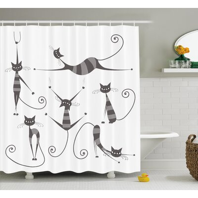 Everly Funny Skinny Striped Cat Shower Curtain Size: 69 W x 75 L