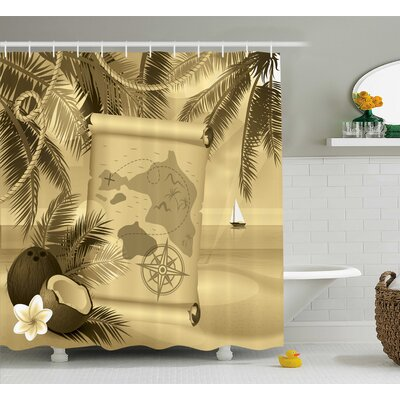 Aragon Sepia View of Island Shower Curtain Size: 69 W x 75 L