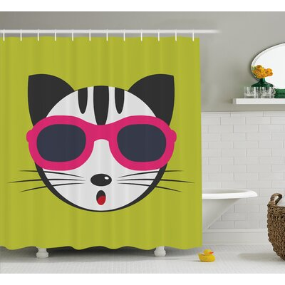 Everly Ethnic Boho Cute Kitten Shower Curtain Size: 69 W x 75 L