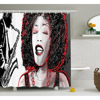 Houten Afro American Girl Sings Print Shower Curtain Size: 69 W x 84 L
