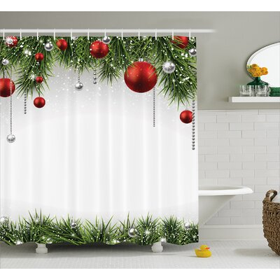 Christmas Tree Balls Ornaments Shower Curtain Size: 69 W x 84 L