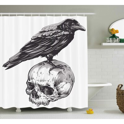 Jimmy Sketchy Old Skull Image Shower Curtain Size: 69 W x 84 L