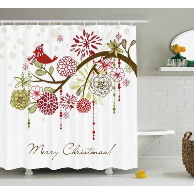 "Christmas Red Bird Floral Tree Shower Curtain Size: 69"" W x 75"" L THLA2015 39393965"
