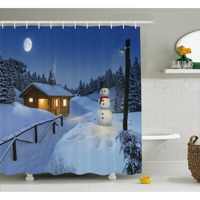 Winter Rustic Wood Cottage Shower Curtain Size: 69 W x 75 L