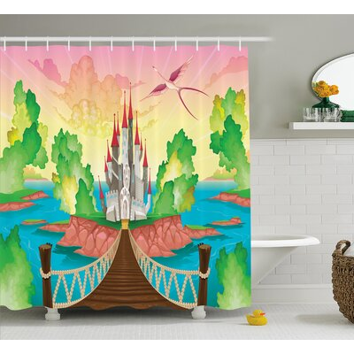 Julian Wooden Bridge and Bird Print Shower Curtain Size: 69 W x 70 L