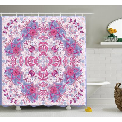 Delano Boho Ethnic Floral Shower Curtain Size: 69 W x 84 L