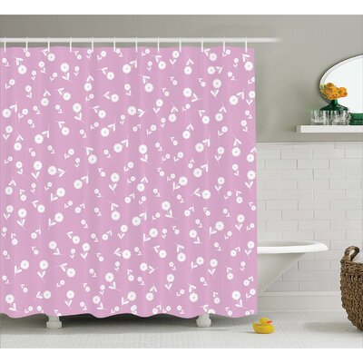 Josie Floral Heart Leaves Shower Curtain Size: 69 W x 75 L