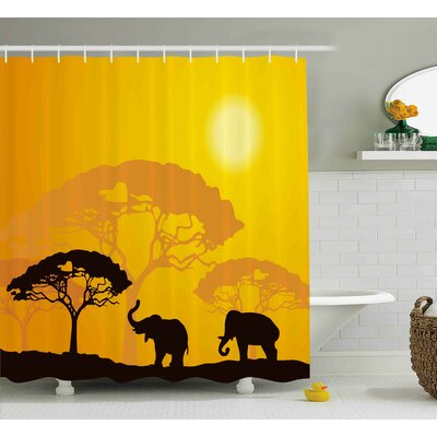Avia Africa Abstract Wildlife Shower Curtain Size: 69 W x 70 L