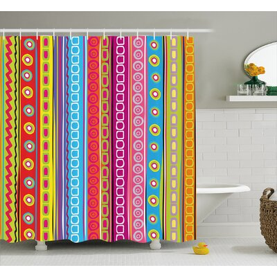Beachmere 90s Retro Art Ethnic Shower Curtain Size: 69 W x 70 L
