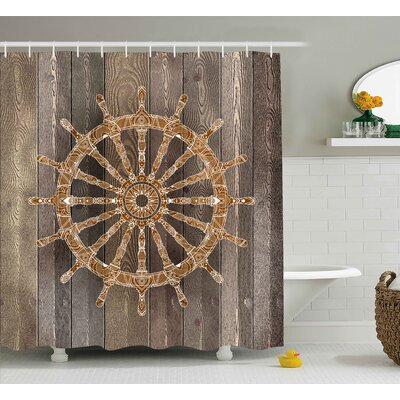 Zoila Nautical Ship Sea Wheel Shower Curtain Size: 69