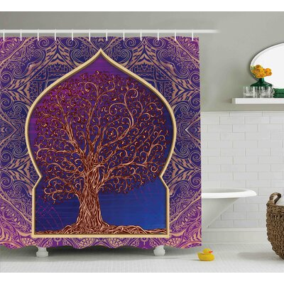 Beaulah Retro Eastern Branches Shower Curtain Size: 69 W x 84 L
