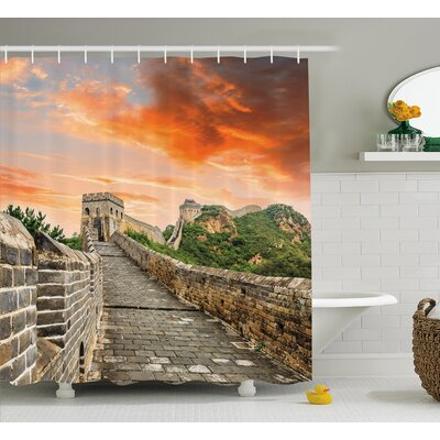 Faye Old Brick Ruins China Shower Curtain Size: 69 W x 70 L