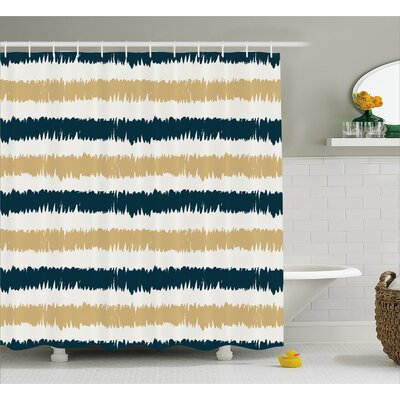 Synthia Navy Blue Beige Brush Shower Curtain Size: 69 W x 84 L