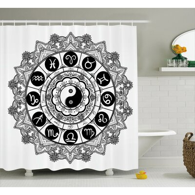 Zen Mandala Asian Art Harmony Shower Curtain Size: 69 W x 84 L