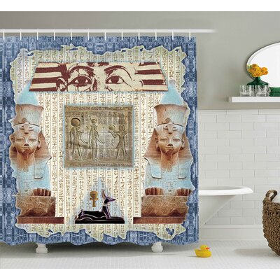 Anjali Old Mummy Pyramids Shower Curtain Size: 69 W x 75 L