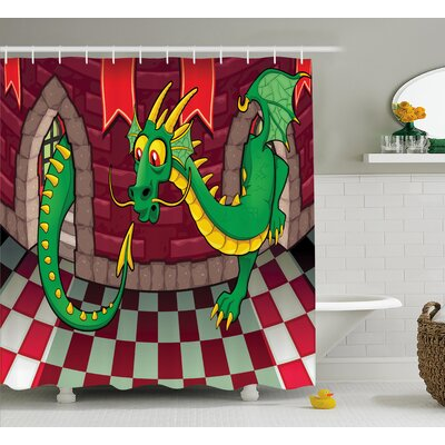 Seraphina Castle with Dragon Shower Curtain Size: 69 W x 75 L