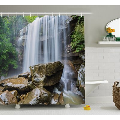 Landscape Tropical Waterfalls Shower Curtain Size: 69 W x 70 L