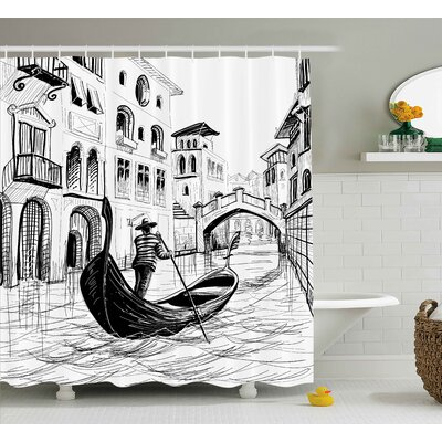 Sketchy Mediterranean Decor Shower Curtain Size: 69 W x 70 L