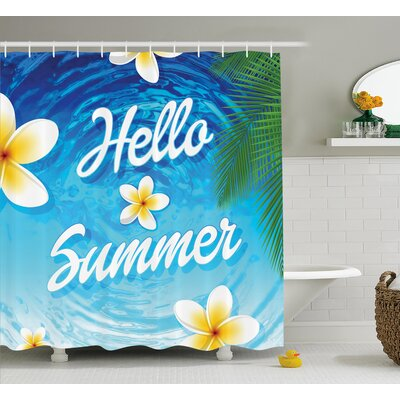 Ernestine Palm Leaves Plumeria Shower Curtain Size: 69 W x 75 L