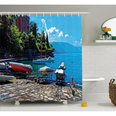 Beal Boats European Sea Town Shower Curtain Size: 69 W x 84 L