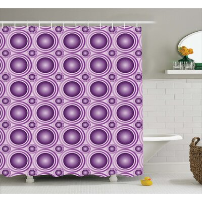 Hugo Circular Lines Rings Print Shower Curtain Size: 69 W x 84 L