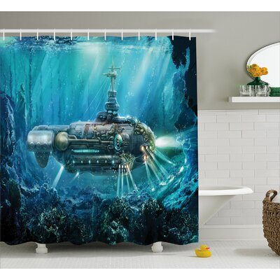 Turquoise Fantastic Submarine Shower Curtain Size: 69 W x 75 L