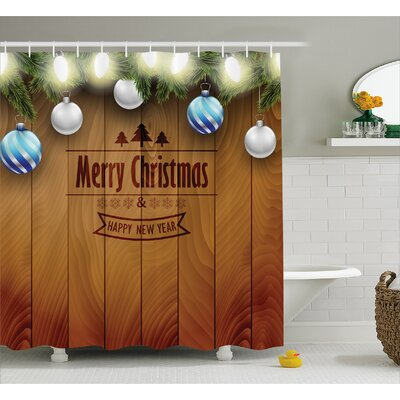 Christmas Fairy Lights on Wood Shower Curtain Size: 69 W x 75 L