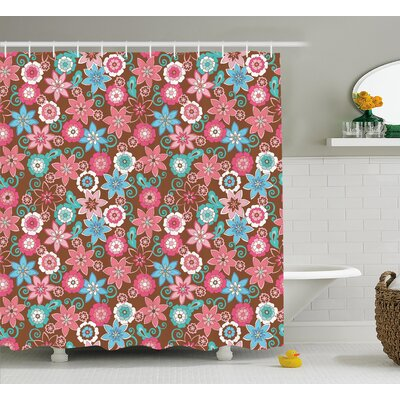 Clark Flower Petals Florets Shower Curtain Size: 69 W x 70 L