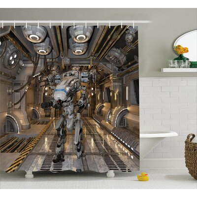 Fabric Battle Robot Weapons Shower Curtain Size: 69 W x 75 L