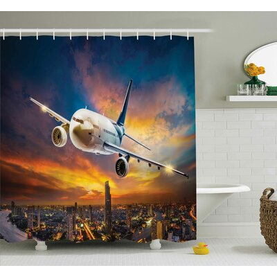 Travel Night Scene with Plane Shower Curtain Size: 69 W x 84 L