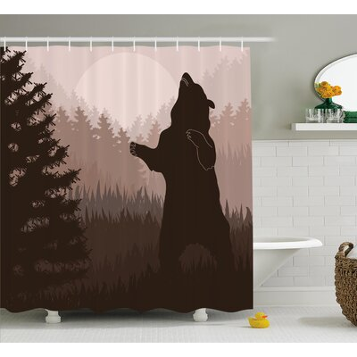 Avers Wild Bear Night Jungle Shower Curtain Size: 69 W x 70 L
