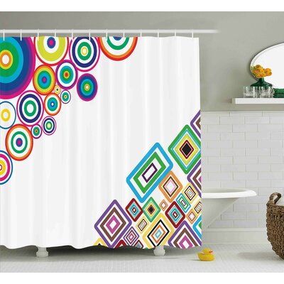 Fredia Colored Rectangle Form Shower Curtain Size: 69 W x 70 L