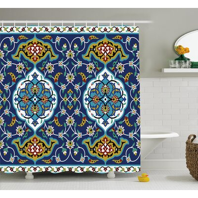 Arvizu Oriental Tile Effects Shower Curtain Size: 69 W x 70 L