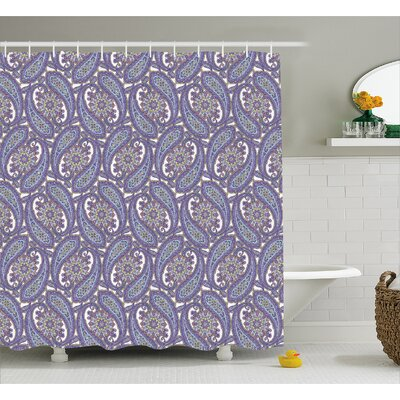 Hakeem Indian Flower Decor Shower Curtain Size: 69 W x 75 L