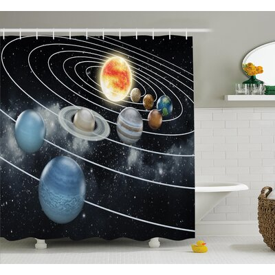 Solar System Sun Planets Shower Curtain Size: 69 W x 75 L