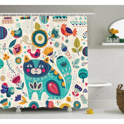 Lottie Cat Figure with Birds Shower Curtain Size: 69 W x 70 L
