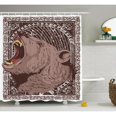 Ayanna Growling Grizzly Bear Shower Curtain Size: 69 W x 75 L