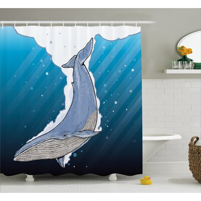 Lottie Ocean Whale Fish Swims Shower Curtain Size: 69 W x 70 L