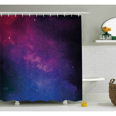 Belz Stardust Space Rainbow Shower Curtain Size: 69 W x 84 L