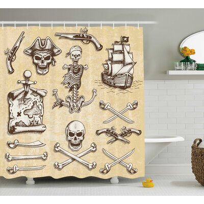 Cerise Pirate Ship Skull Sketch Shower Curtain Size: 69 W x 75 L