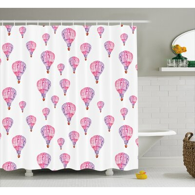 Shelley Vintage Air Balloons Shower Curtain Size: 69 W x 84 L