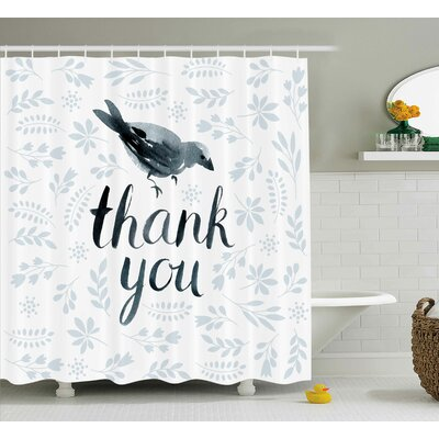 Banister Cute Bird Say Thank You Shower Curtain Size: 69 W x 70 L
