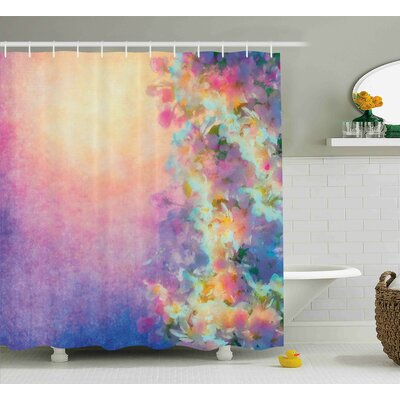 Purple Spring Cherry Blossom Print Shower Curtain Size: 69 W x 75 L